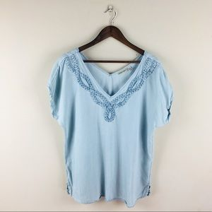 Holding Horses Anthropologie Chambray blue top